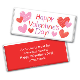 Personalized Valentine's Day Red and Pink Hearts Chocolate Bar Wrapper