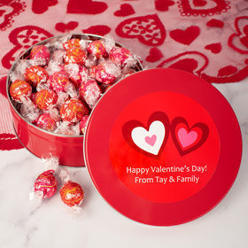 Personalized Valentine's Day Hearts Tin with Lindt Truffles (approx 45 pcs)