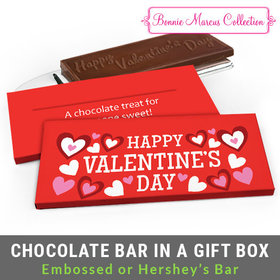 Deluxe Personalized Hearts Valentine's Day Chocolate Bar in Gift Box