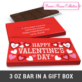 Deluxe Personalized Hearts Valentine's Day Chocolate Bar in Gift Box (3oz Bar)