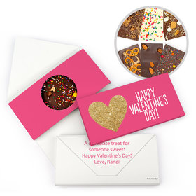 Personalized Glitter Hearts Valentine's Day Gourmet Infused Belgian Chocolate Bars (3.5oz)
