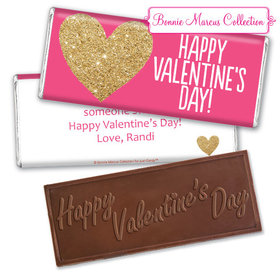 Personalized Valentine's Day Glitter Heart Embossed Chocolate Bar & Wrapper