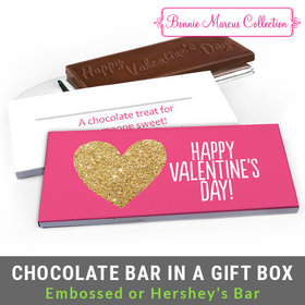 Deluxe Personalized Glitter Heart Valentine's Day Chocolate Bar in Gift Box