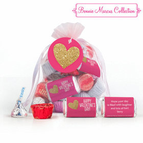 Pink Medium Organza Bag Glitter Hearts Valentine's Day Hershey's Mix