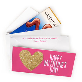 Deluxe Personalized Bonnie Marcus Glitter Heart Valentine's Day Godiva Chocolate Bar in Gift Box