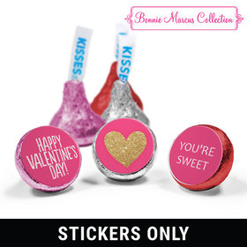 "Personalized Valentine's Day Glitter Heart 3/4"" Stickers (108 Stickers)"