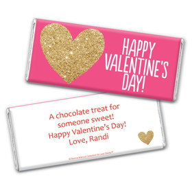 Bonnie Marcus Personalized Valentine's Day Glitter Heart Chocolate Bar & Wrapper