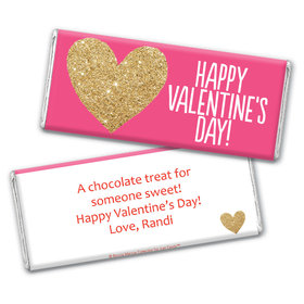 Personalized Valentine's Day Glitter Heart Chocolate Bar Wrapper