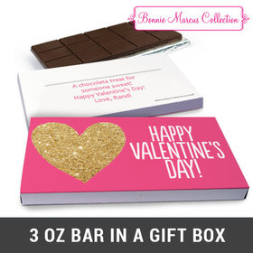 Deluxe Personalized Glitter Heart Valentine's Day Belgian Chocolate Bar in Gift Box (3oz Bar)