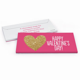 Deluxe Personalized Glitter Heart Valentine's Day Candy Bar Cover