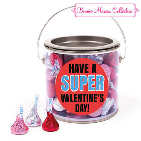 Happy Valentine's Day Superhero Hershey's Kisses Silver Paint Can
