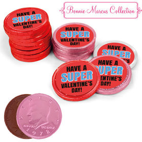 Bonnie Marcus Collection Valentine's Day Superhero Milk Chocolate Red, Pink and White Coins with Stickers (72 Pack)