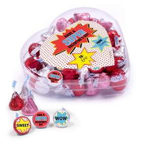 Personalized Valentine's Day Superhero Clear Heart Box 13oz
