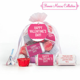 Pink Medium Organza Bag Happy Valentine's Day Hershey's Mix