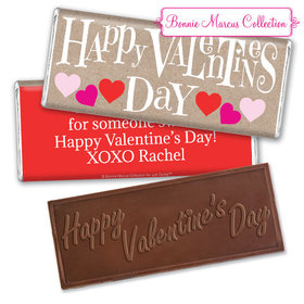 Personalized Valentine's Day Cute Hearts Embossed Chocolate Bar & Wrapper
