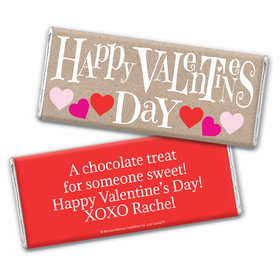 Personalized Valentine's Day Cute Hearts Chocolate Bar & Wrapper