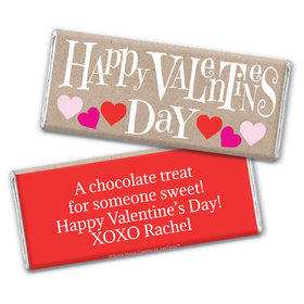 Personalized Valentine's Day Cute Hearts Chocolate Bar Wrapper