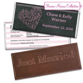 Bonnie Marcus Collection Personalized Embossed Chocolate Bar Chocolate and Wrapper Sweetheart Swirl Wedding Favor