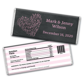 Sweetheart Swirl Wedding Favor Personalized Candy Bar - Wrapper Only