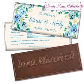Bonnie Marcus Collection Personalized Embossed Chocolate Bar Chocolate & Wrapper Here's Something Blue Wedding Favors