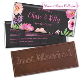 Bonnie Marcus Collection Personalized Embossed Chocolate Bar Chocolate & Wrapper Floral Embrace Wedding Favors