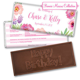 Personalized Bonnie Marcus Embossed Chocolate Bar Chocolate & Wrapper Floral Embrace Wedding Favors