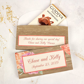 Deluxe Personalized Wedding Blooming Joy Godiva Chocolate Bar in Gift Box