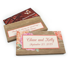 Deluxe Personalized Blooming Joy Wedding Chocolate Parve Bar in Gift Box (3.5oz Bar)