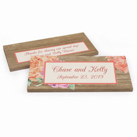 Deluxe Personalized Blooming Joy Wedding Hershey's Chocolate Bar in Gift Box