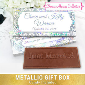 Deluxe Personalized Flowers Wedding Embossed Chocolate Bar in Metallic Gift Box