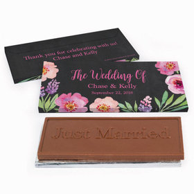 Deluxe Personalized Floral Wedding Chocolate Bar in Gift Box