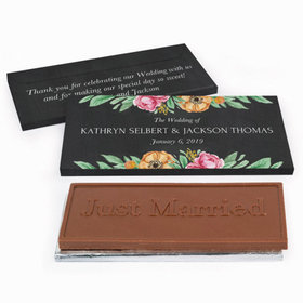 Deluxe Personalized Flowers Wedding Chocolate Bar in Gift Box