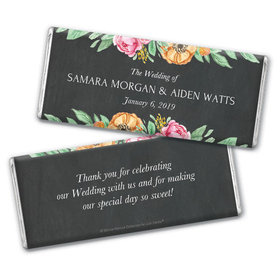 Personalized Bonnie Marcus Chocolate Bar & Wrapper - Wedding Flowers in Chalk