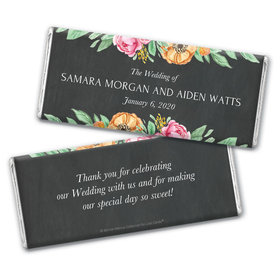 Personalized Bonnie Marcus Chocolate Bar Wrappers Only - Wedding Flowers in Chalk