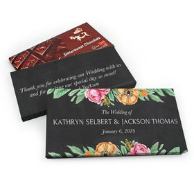 Deluxe Personalized Flowers Wedding Chocolate Parve Bar in Gift Box (3.5oz Bar)