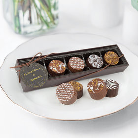 Personalized Wedding Divine Gold Gourmet Chocolate Truffle Gift Box (5 Truffles)