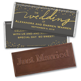 Personalized Bonnie Marcus Wedding Divine Gold Embossed Chocolate Bar & Wrapper