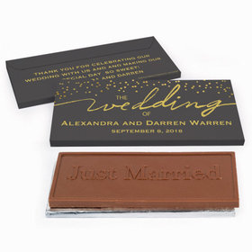 Deluxe Personalized Divine Gold Wedding Chocolate Bar in Gift Box