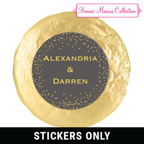 "Personalized Bonnie Marcus 1.25"" Stickers - Wedding Divine Gold (48 Stickers)"