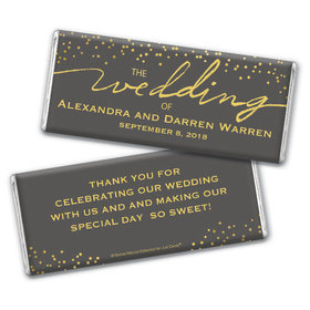 Personalized Bonnie Marcus Chocolate Bar & Wrapper - Wedding Divine Gold
