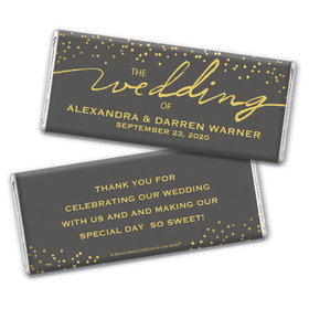 Personalized Bonnie Marcus Chocolate Bar Wrappers Only - Wedding Divine Gold