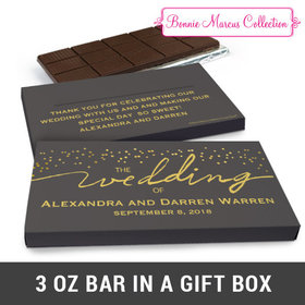 Deluxe Personalized Divine Gold Wedding Chocolate Bar in Gift Box (3oz Bar)