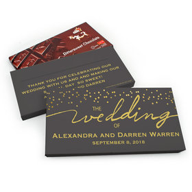 Deluxe Personalized Divine Gold Wedding Chocolate Parve Bar in Gift Box (3.5oz Bar)