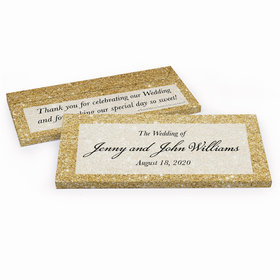 Deluxe Personalized Gold Sparkles Wedding Hershey's Chocolate Bar in Gift Box