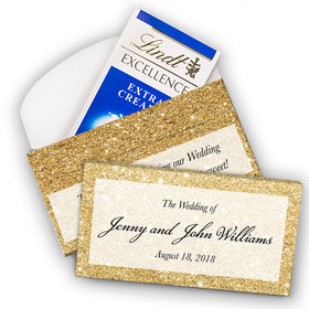 Deluxe Personalized Wedding All That Glitters Lindt Chocolate Bar in Gift Box (3.5oz)