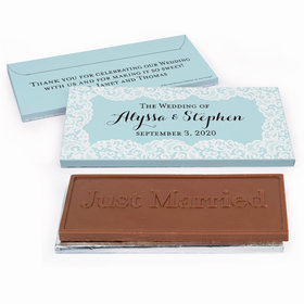 Deluxe Personalized Lace & Linen Wedding Chocolate Bar in Gift Box