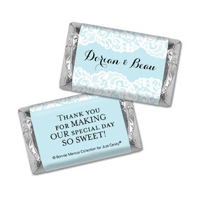 Personalized Bonnie Marcus Mini Wrappers Only - Wedding Lace Trim on Light Blue