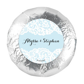 """Personalized Bonnie Marcus 1.25"""" Stickers - Wedding Lace Trim on Light Blue (48 Stickers)"""