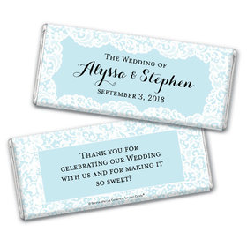 Personalized Bonnie Marcus Chocolate Bar & Wrapper - Wedding Lace Trim on Light Blue