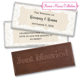 Personalized Bonnie Marcus Wedding Lace Trim on Burlap Embossed Chocolate Bar & Wrapper
